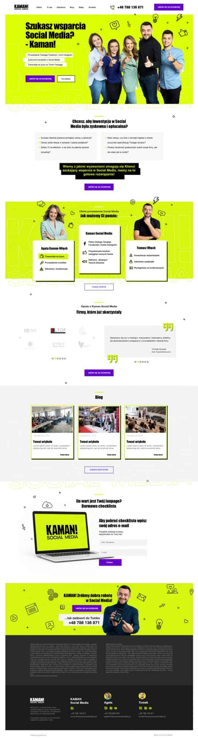 Strona internetowa dla Kaman Social Media - Portfolio Two Colours Agency